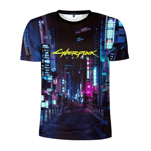 Мужская футболка 3D спортивная с принтом Cyberpunk 2077, вид спереди #2
