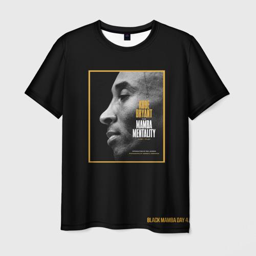 Мужская 3D футболка с принтом Kobe Bryant black mamba, вид спереди #2