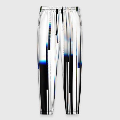 Мужские брюки 3D с принтом Абстракция Глитч, вид спереди #2