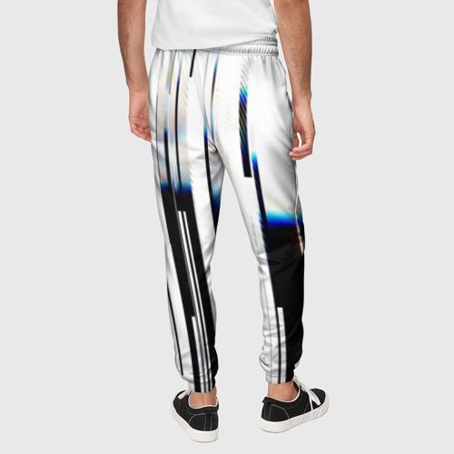Мужские брюки 3D с принтом Абстракция Глитч, вид сзади #2