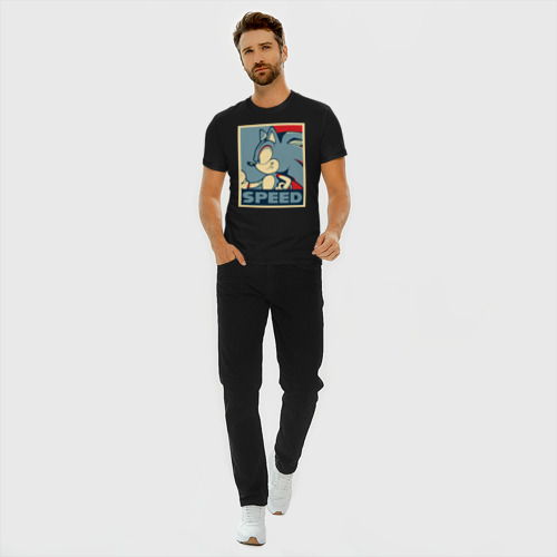 Мужская футболка премиум с принтом Соник, вид сбоку #3