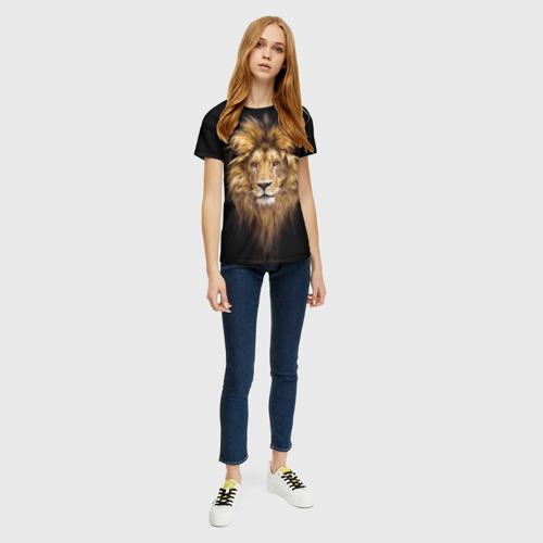 Женская 3D футболка с принтом Лев, вид сбоку #3