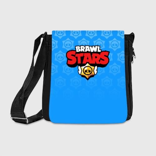 Сумка через плечо с принтом BRAWL STARS   БРАВЛ СТАРС BLUE, вид спереди #2