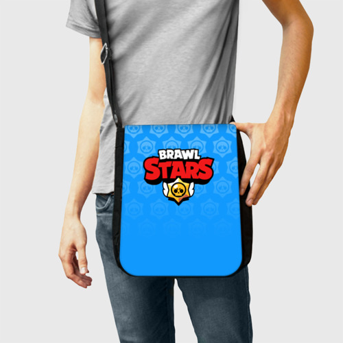 Сумка через плечо с принтом BRAWL STARS   БРАВЛ СТАРС BLUE, фото на моделе #1