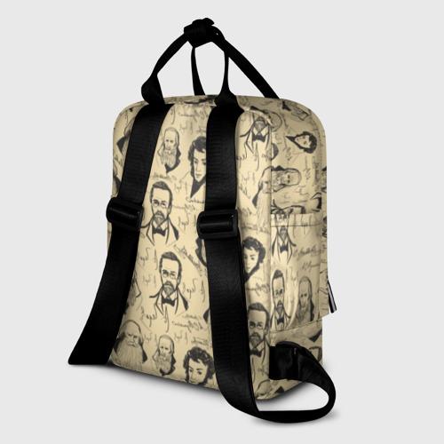 Женский рюкзак 3D с принтом Великие писатели-классики, вид сзади #1
