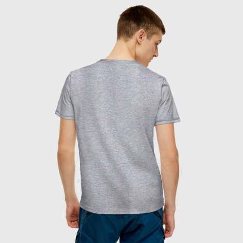 Мужская футболка с принтом Кися в кармане, вид сзади #2