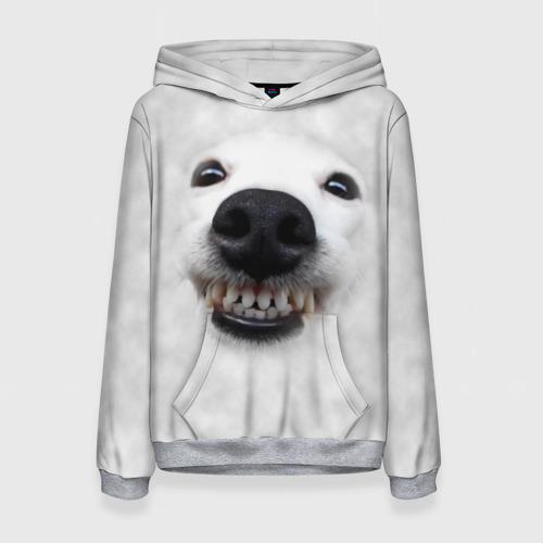 Женская 3D толстовка Собака - улыбака