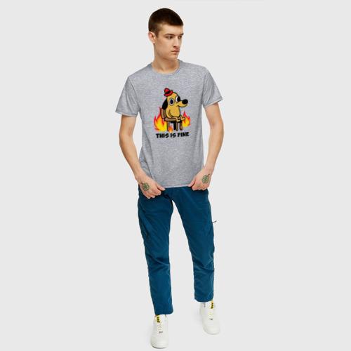 Мужская футболка с принтом This Is Fine, вид сбоку #3