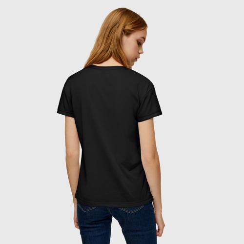Женская 3D футболка с принтом Кошка колдунья, вид сзади #2