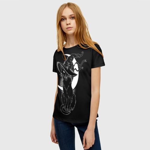 Женская 3D футболка с принтом Кошка колдунья, фото на моделе #1