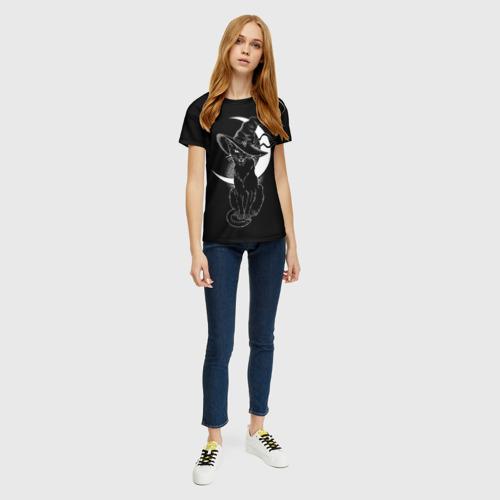 Женская 3D футболка с принтом Кошка колдунья, вид сбоку #3