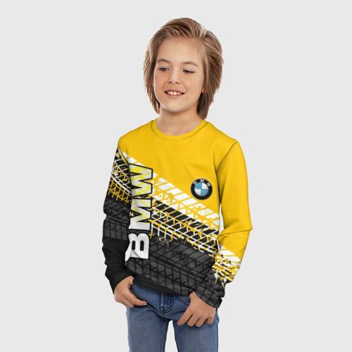 Детский лонгслив 3D с принтом BMW, фото на моделе #1