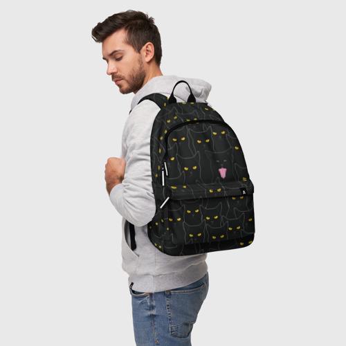 Рюкзак 3D с принтом Чёрные коты, фото на моделе #1