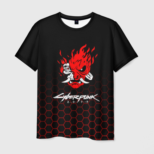 Мужская 3D футболка с принтом CYBERPUNK 2077, вид спереди #2