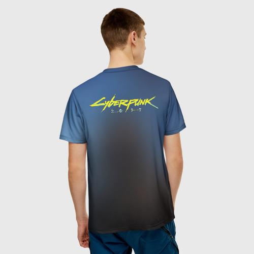 Мужская 3D футболка с принтом Кибер, вид сзади #2
