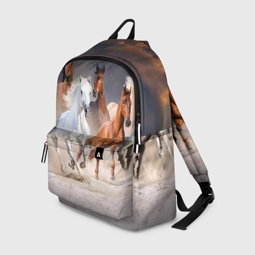 Рюкзак 3D с принтом Табун, вид спереди #2