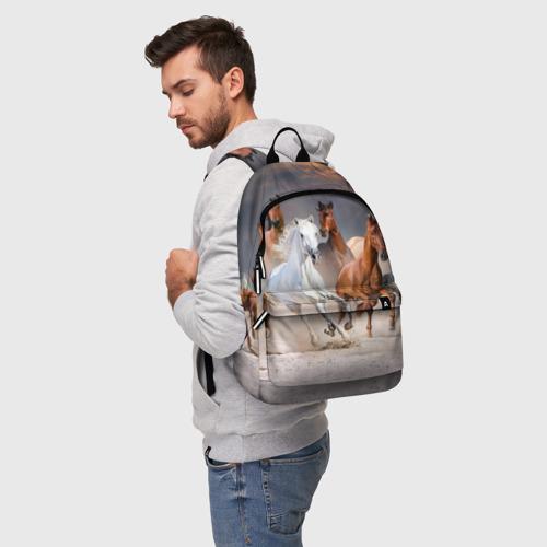 Рюкзак 3D с принтом Табун, фото на моделе #1