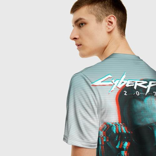 Мужская 3D футболка с принтом Cyberpunk 2077, вид сзади #2
