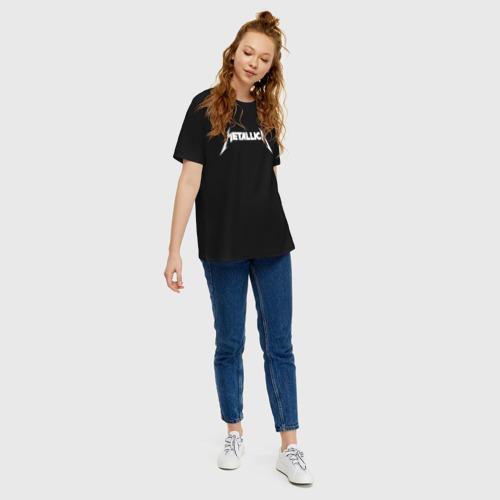 Женская футболка oversize с принтом METALLICA (НА СПИНЕ), вид сбоку #3
