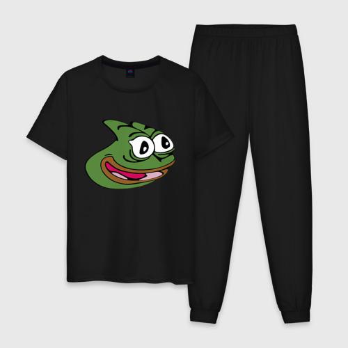 Мужская пижама хлопок с принтом Pepega, вид спереди #2