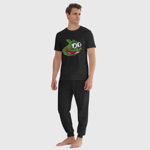 Мужская пижама хлопок с принтом Pepega, вид сбоку #3