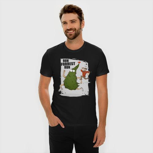 Мужская футболка премиум с принтом Беги, Форрест, беги!, фото на моделе #1