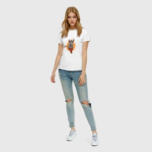 Женская футболка с принтом К черту драму! Держи ламу!, вид сбоку #3