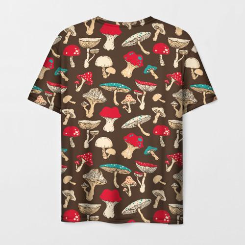 Мужская 3D футболка с принтом Грибы, вид сзади #1