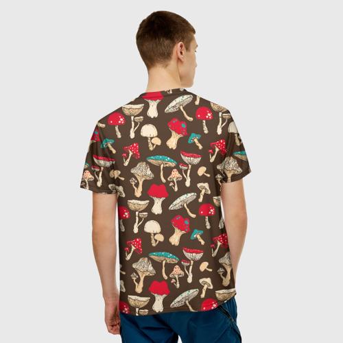 Мужская 3D футболка с принтом Грибы, вид сзади #2