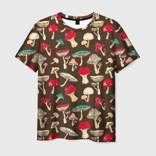 Мужская 3D футболка с принтом Грибы, вид спереди #2