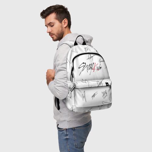 Рюкзак 3D с принтом STRAY KIDS АВТОГРАФЫ, фото на моделе #1