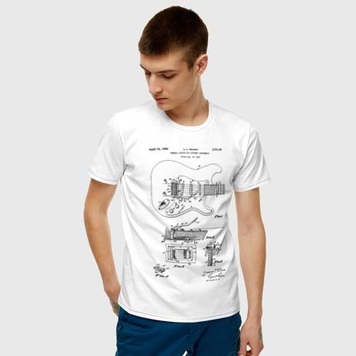 Мужская футболка с принтом Patent C L Fender, фото на моделе #1