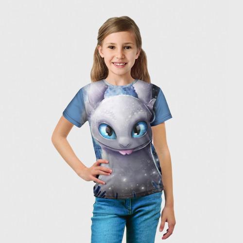 Детская 3D футболка с принтом Дневная фурия, вид сбоку #3