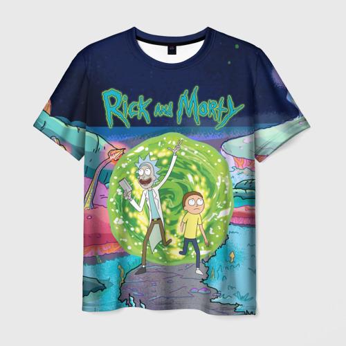 Мужская 3D футболка Путешествия Рик и Морти