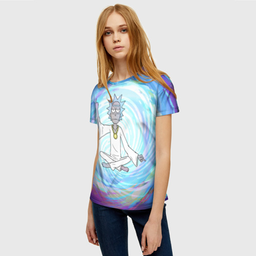 Женская 3D футболка с принтом Rick in nirvana, фото на моделе #1