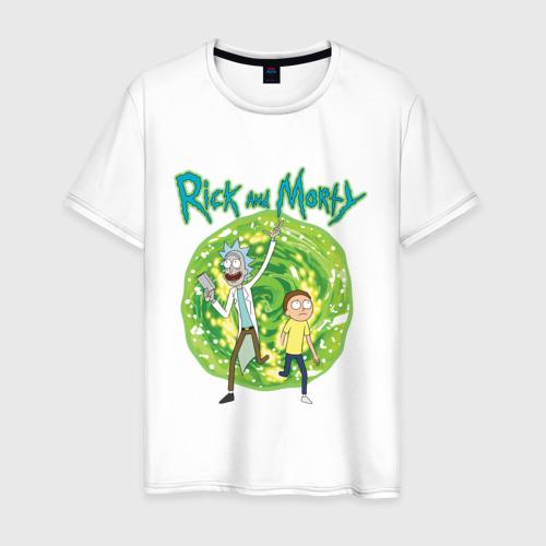 Мужская футболка Rick and Morty in the portal