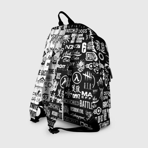 Рюкзак 3D с принтом ЛОГОТИПЫ ИГР / LOGO BOMBING GAMES, вид сзади #1