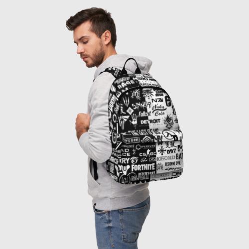 Рюкзак 3D с принтом ЛОГОТИПЫ ИГР / LOGO BOMBING GAMES, фото на моделе #1