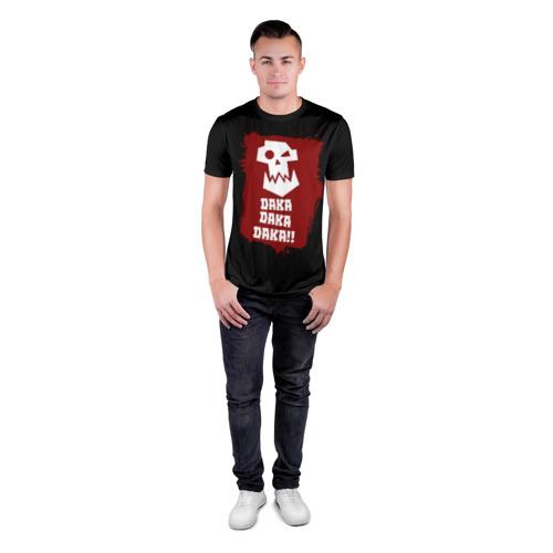Мужская футболка 3D спортивная с принтом DAKA DAKA!!!, вид сбоку #3