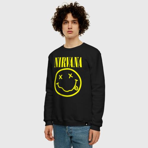 Мужской свитшот с принтом NIRVANA   НИРВАНА, фото на моделе #1