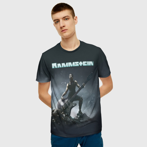 Мужская 3D футболка с принтом Rammstein, фото на моделе #1