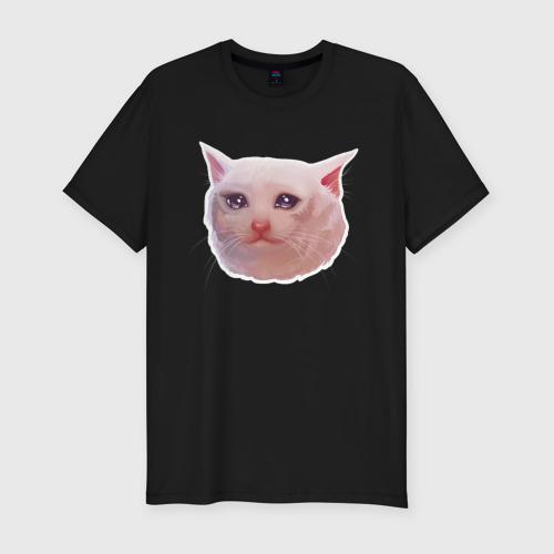 Мужская футболка премиум с принтом Плачущий кот, вид спереди #2