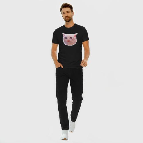 Мужская футболка премиум с принтом Плачущий кот, вид сбоку #3