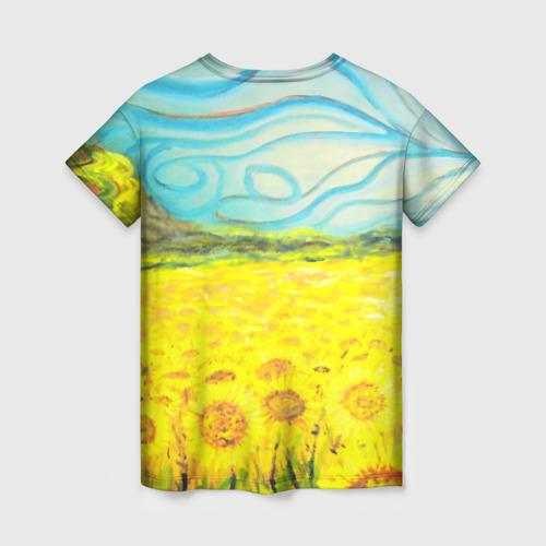 Женская 3D футболка с принтом ПОДСОЛНУХИ ВАНГОГ, вид сзади #1