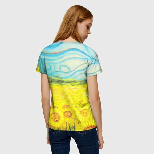 Женская 3D футболка с принтом ПОДСОЛНУХИ ВАНГОГ, вид сзади #2