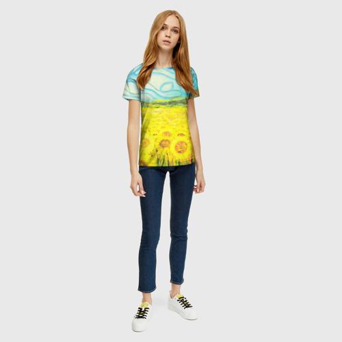 Женская 3D футболка с принтом ПОДСОЛНУХИ ВАНГОГ, вид сбоку #3