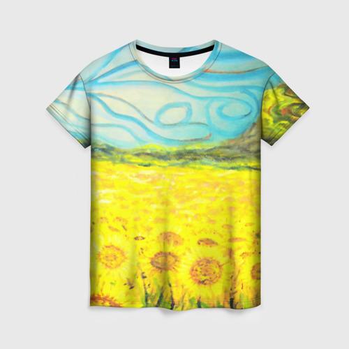 Женская 3D футболка с принтом ПОДСОЛНУХИ ВАНГОГ, вид спереди #2