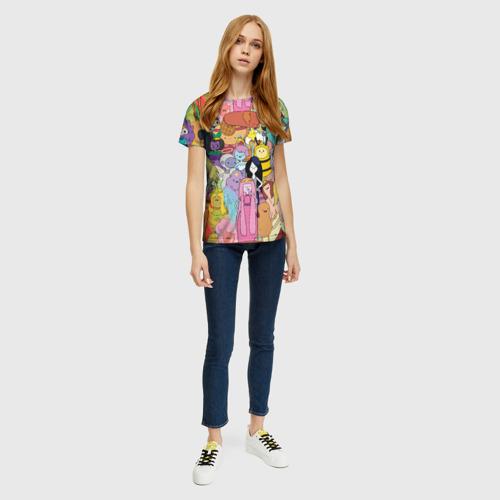Женская 3D футболка с принтом Adventure time, вид сбоку #3