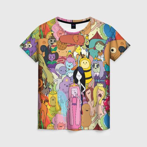 Женская 3D футболка с принтом Adventure time, вид спереди #2
