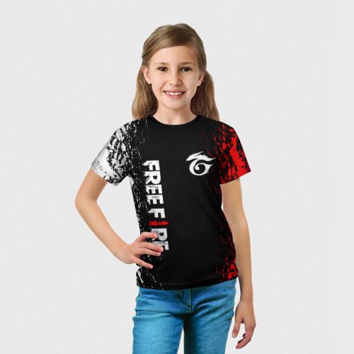 Детская 3D футболка с принтом GARENA FREE FIRE, вид сбоку #3